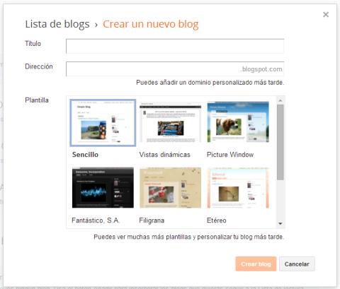 Crear nuevo blog